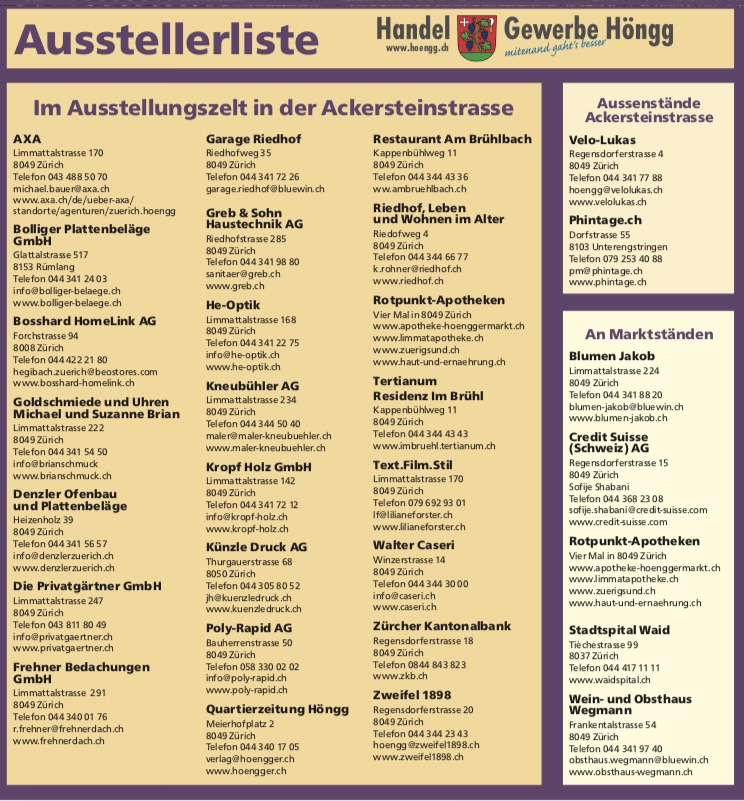 Ausstellerliste Gewerbeschau 2019 Handel und Gewerbe Höngg