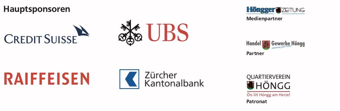 Sponsoren und Partner: Credit Suisse, Raiffeisen, UBS, Zürcher Kantonalbank, Höngger Zeitung, Handel und Gewerbe Höngg, Quartierverein Höngg